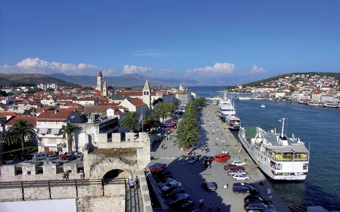 coast cityscapes ships towns Croatia wallpaper