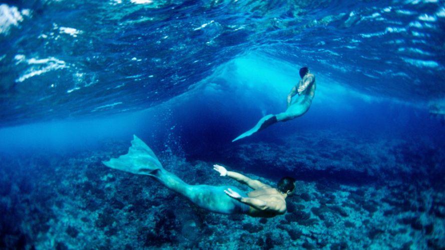 merman underwater wallpaper