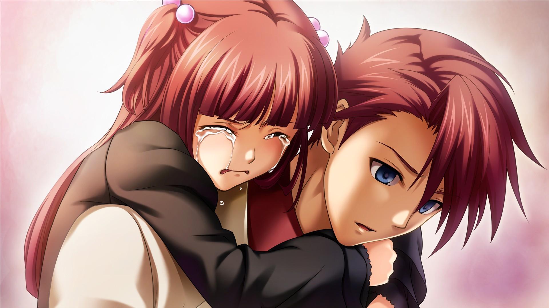 Brunettes brown eyes visual novels anime crying Ushiromiya ...