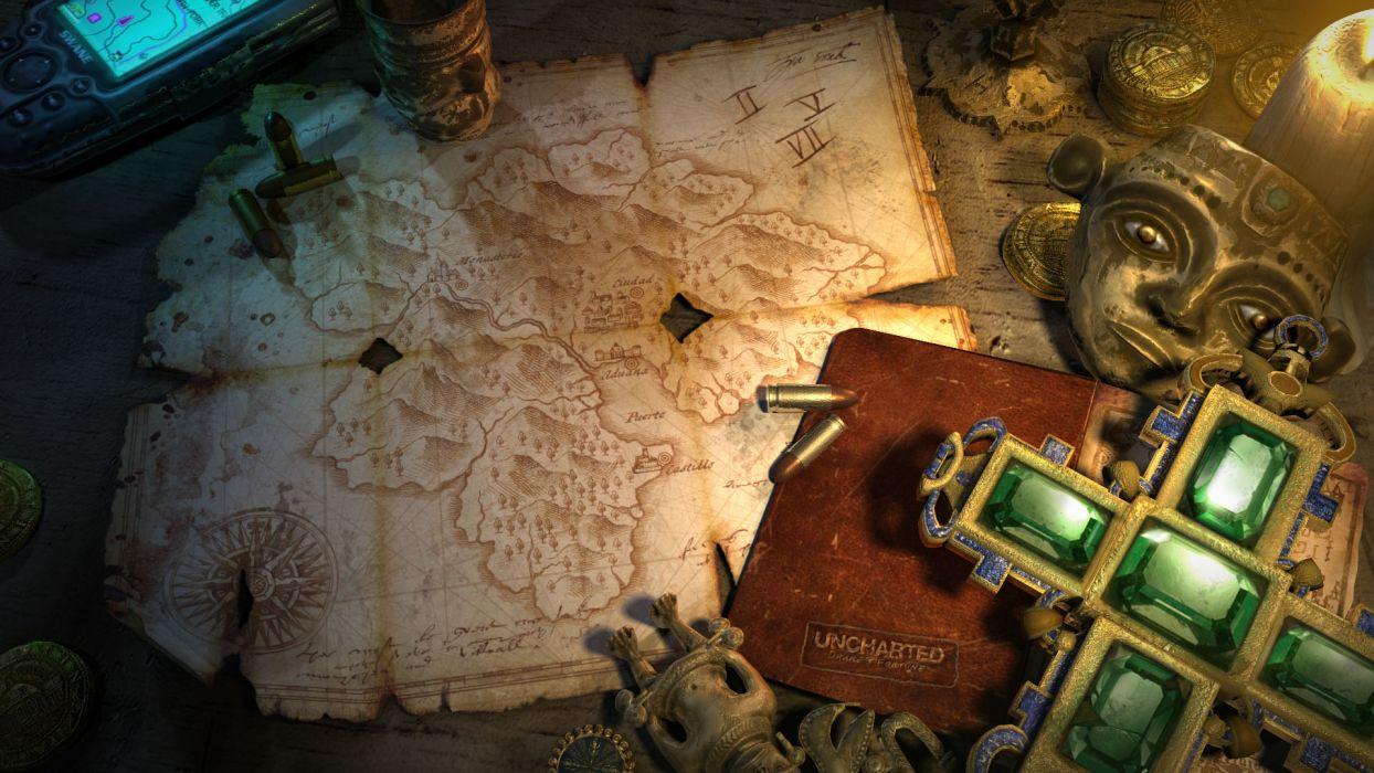 Maps Uncharted Nathan Drake Treasure Playstation 3 Wallpaper