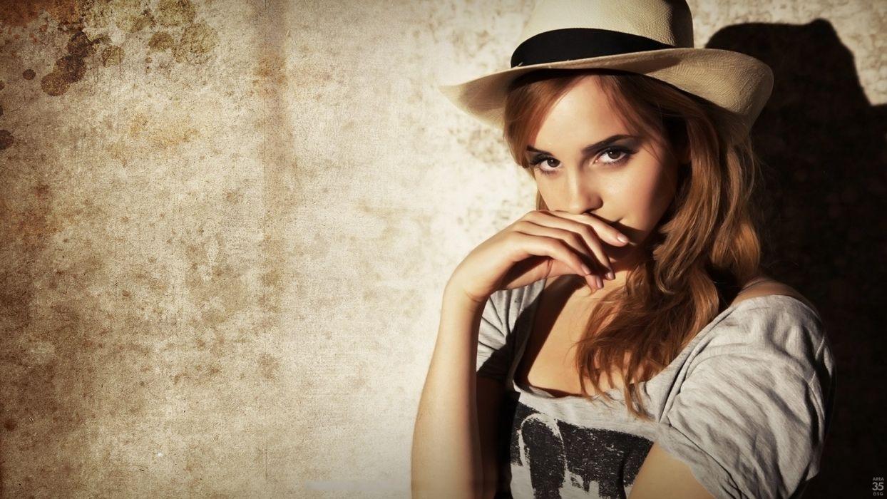 brunettes women Emma Watson models hats faces wallpaper