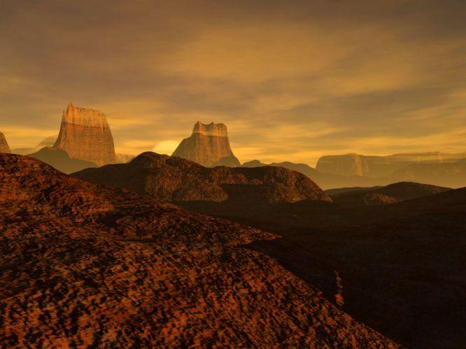 deserts CGI 3D renders wallpaper