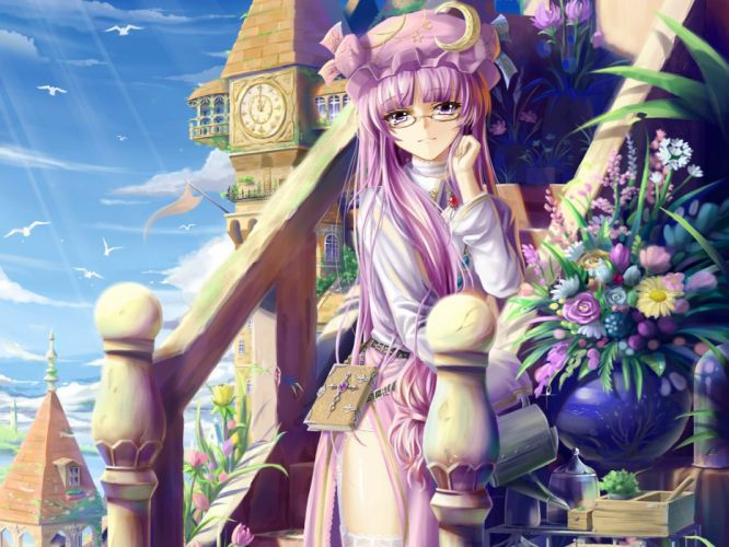 Touhou flowers garden long hair purple hair books scenic mansion purple eyes Patchouli Knowledge skyscapes hats wallpaper
