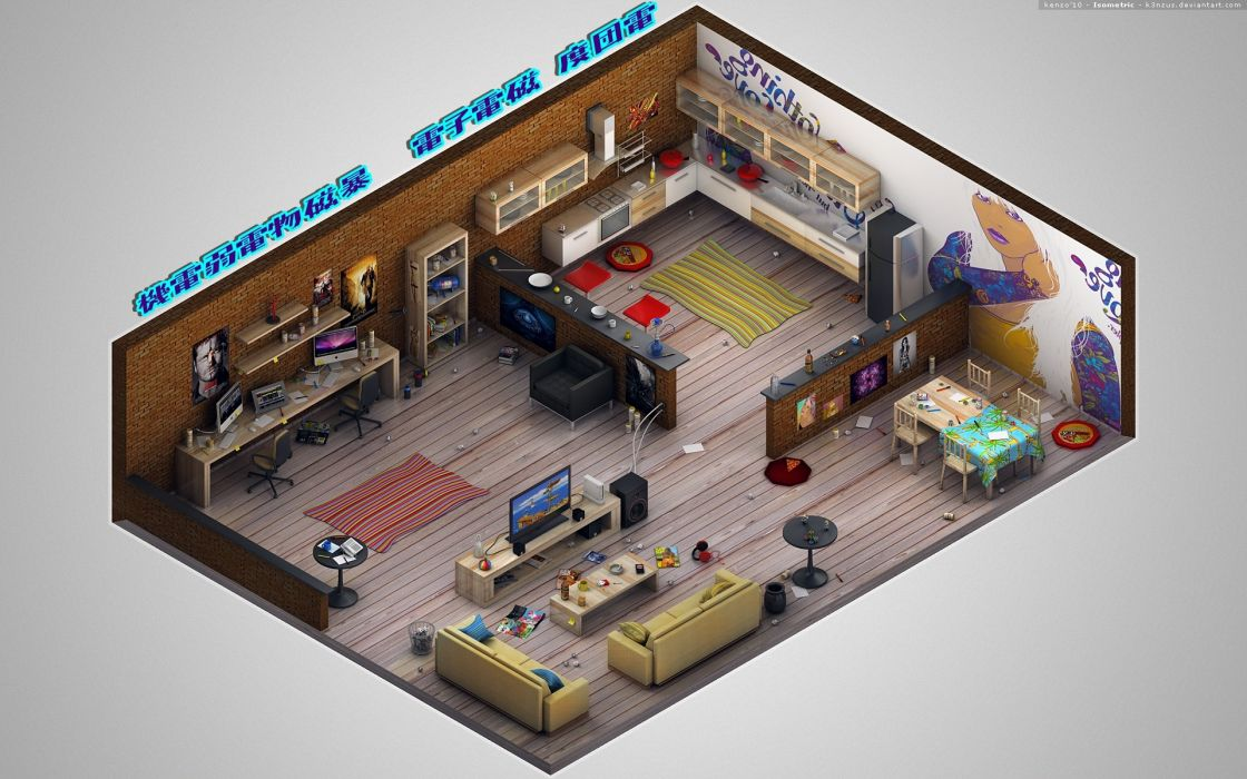 headphones Homes isometric wallpaper