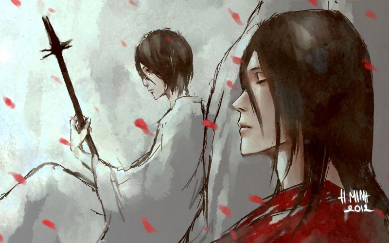 Bleach Kuchiki Byakuya robes artwork Kuchiki Rukia flower petals siblings swords fan art NanFe wallpaper