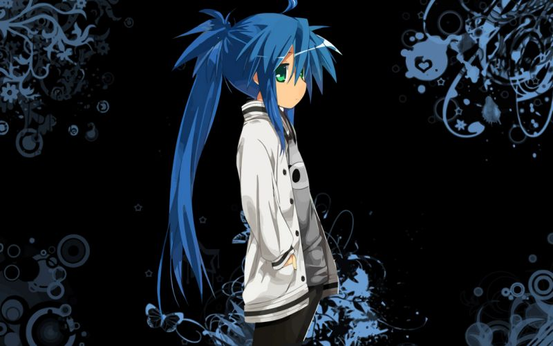 Lucky Star blue hair green eyes Izumi Konata wallpaper