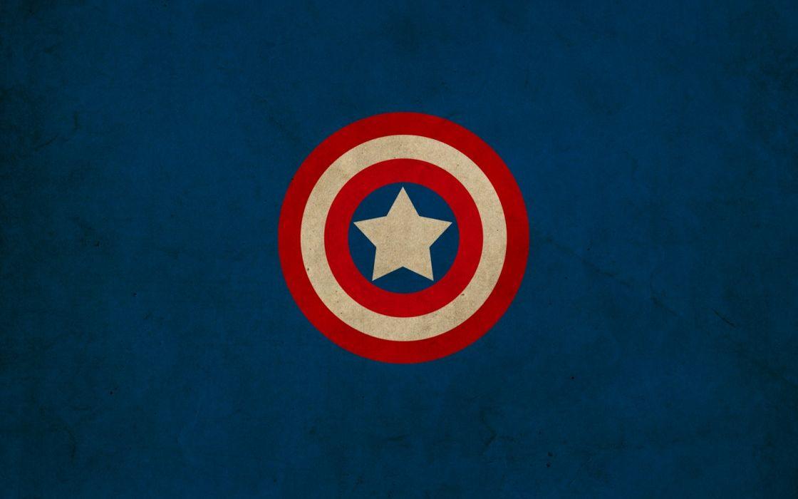 minimalistic Captain America shield Marvel Comics logos Franck Grzyb wallpaper