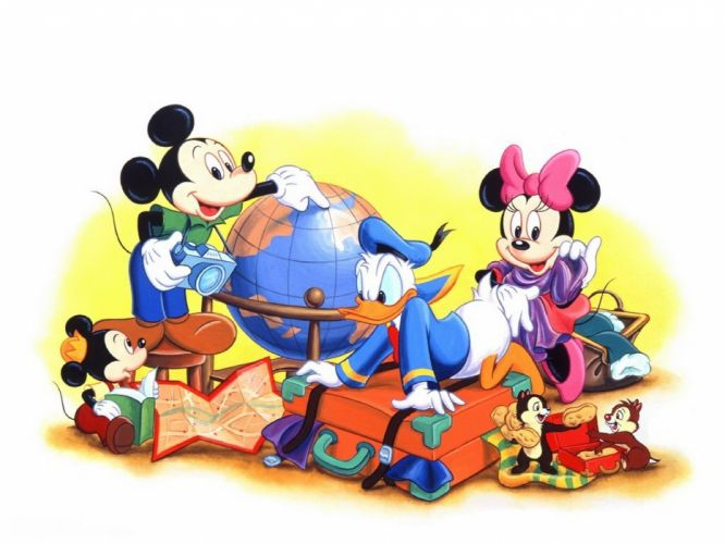 cartoons Disney Company Mickey Mouse Donald Duck Minnie Mouse wallpaper