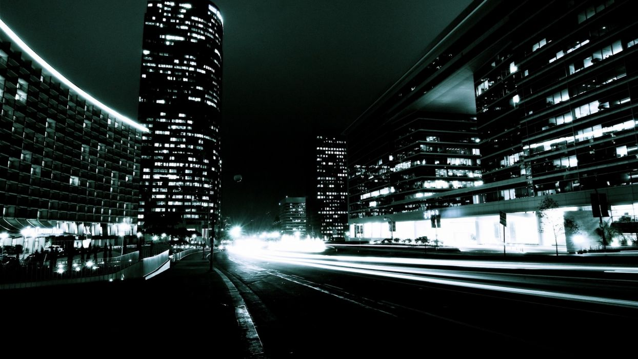 cityscapes night city lights photo manipulation wallpaper