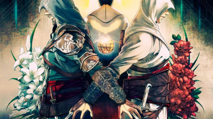 video games Assassins Creed Altair Ibn La Ahad flowers artwork Ezio Auditore da Firenze wallpaper