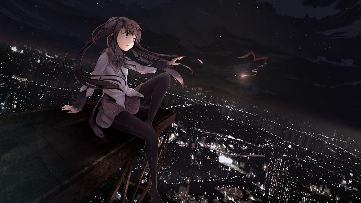 night stars ribbons Mahou Shoujo Madoka Magica anime Akemi Homura anime girls cities wallpaper