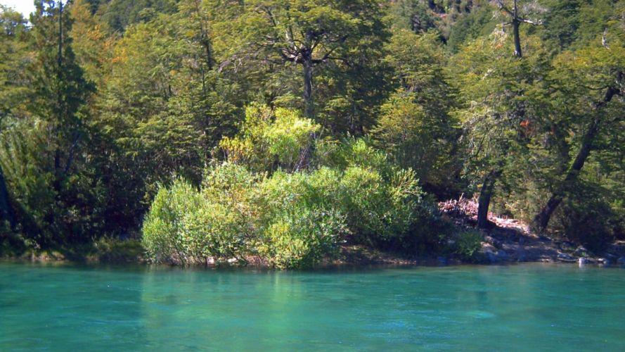 green water Chile landscapes nature forests rivers turquoise Futaleufu river X Region Region de los Lagos wallpaper
