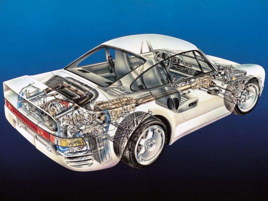 1987 Porsche 959 supercar interior engine        d wallpaper