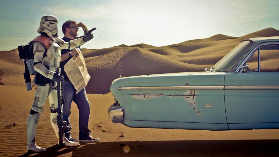 Star Wars stormtroopers deserts Road Trip wallpaper