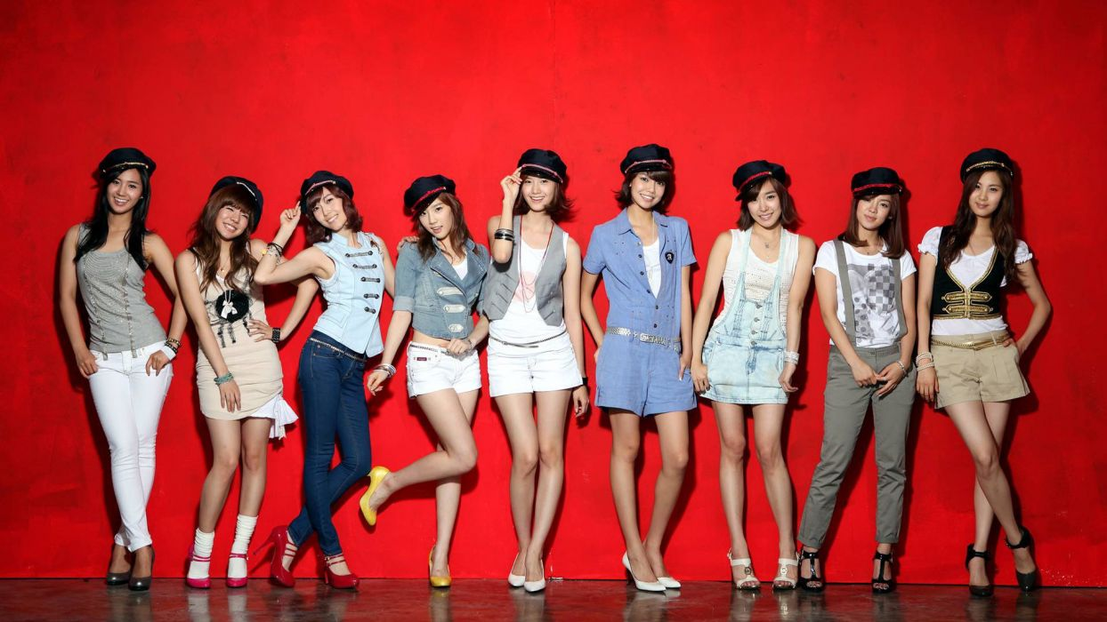 brunettes women models Girls Generation SNSD skirts high heels Asians Korean Kim Taeyeon Im YoonA Choi Sooyoung red background group of girls wallpaper