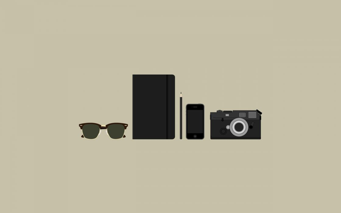 minimalistic sunglasses cameras iPhone pencils simple PDA wallpaper