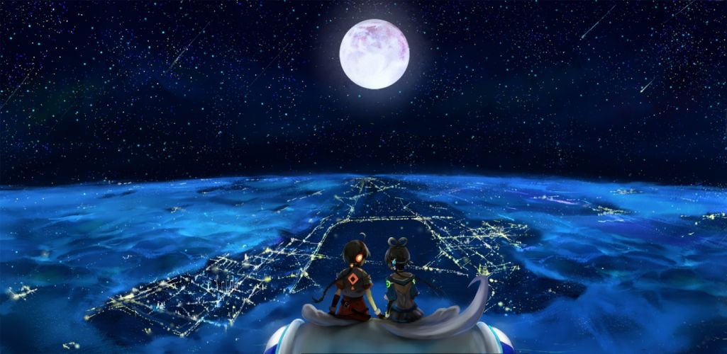 headphones landscapes Vocaloid night stars Moon long hair twintails scenic sitting ponytails ahoge holding hands gray hair Full Moon anime girls hair ornaments cities Luo Tianyi skies Yuezheng Ling Chinese clothes wallpaper