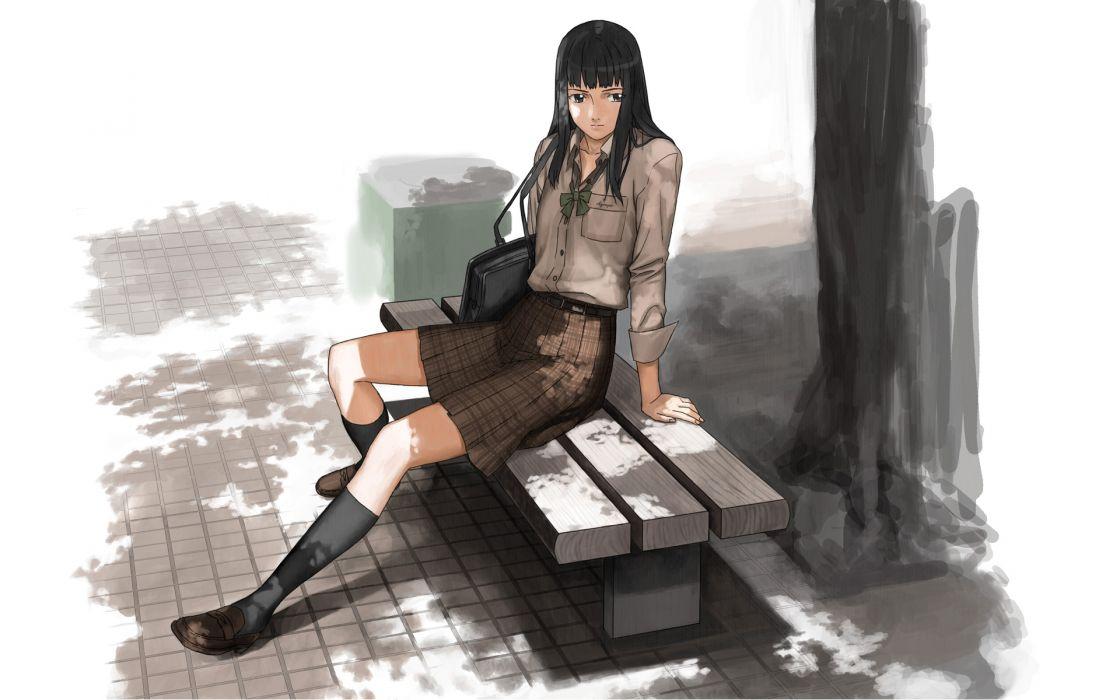 trees school uniforms skirts long hair ribbons bench black eyes anime girls black hair beaches wallpaper