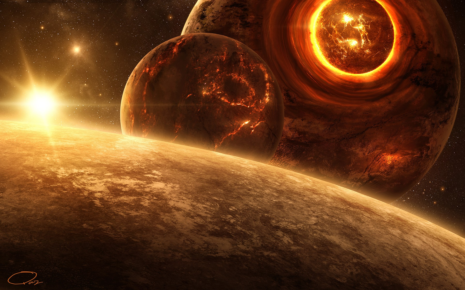 Death outer space planets digital art science fiction QAuZ ...