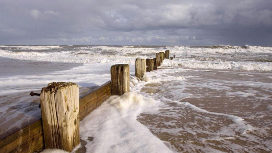 ocean landscapes nature waves piers wallpaper