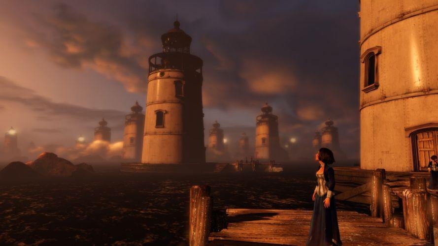 water ocean lighthouses Bioshock Infinite Elizabeth Comstock wallpaper