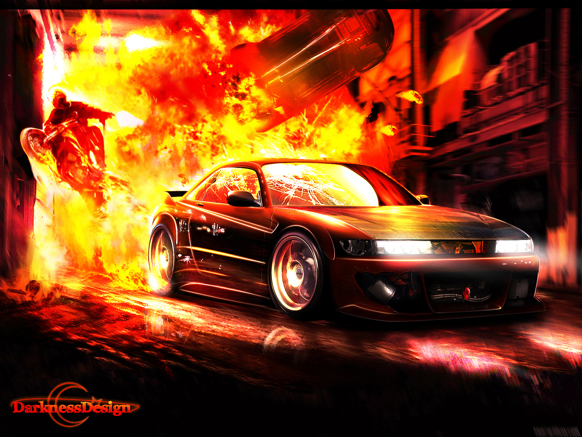 Cars Explosion Wallpaper X WallpaperUP - Cool cars on fire