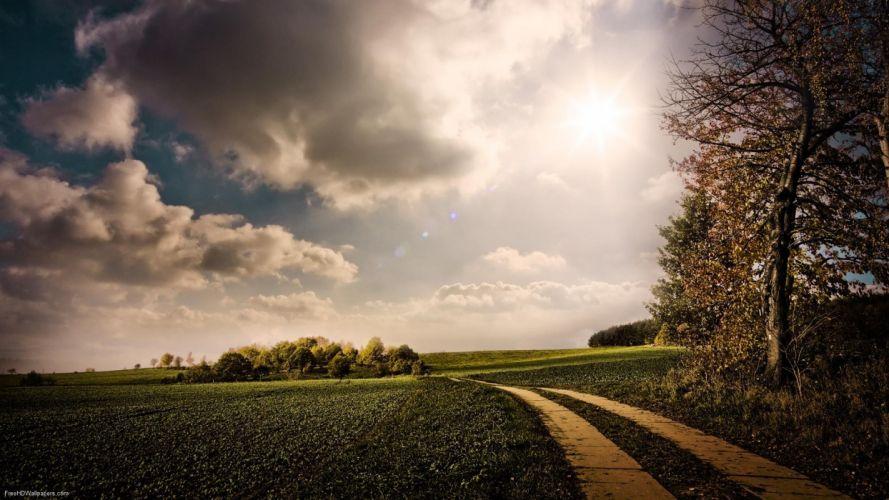 clouds grass roads wallpaper