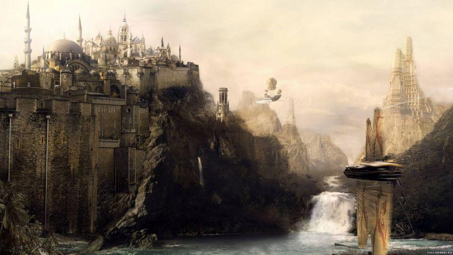 fantasy mountains fortress artwork waterfalls city skyline wallpaper