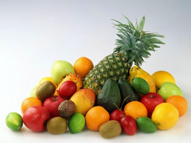 pineapples fruits food kiwi limes apples simple background lemons white background wallpaper