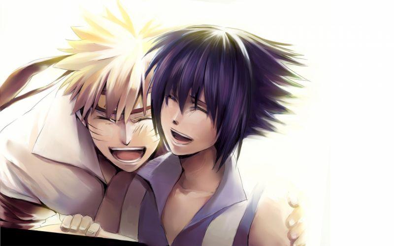 Uchiha Sasuke young Naruto: Shippuden smiling artwork characters anime anime boys Uzumaki Naruto laughing fan art wallpaper