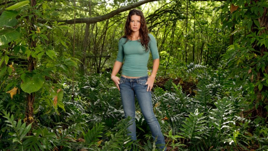 brunettes women jeans jungle Evangeline Lilly freckles green eyes tight clothing wallpaper