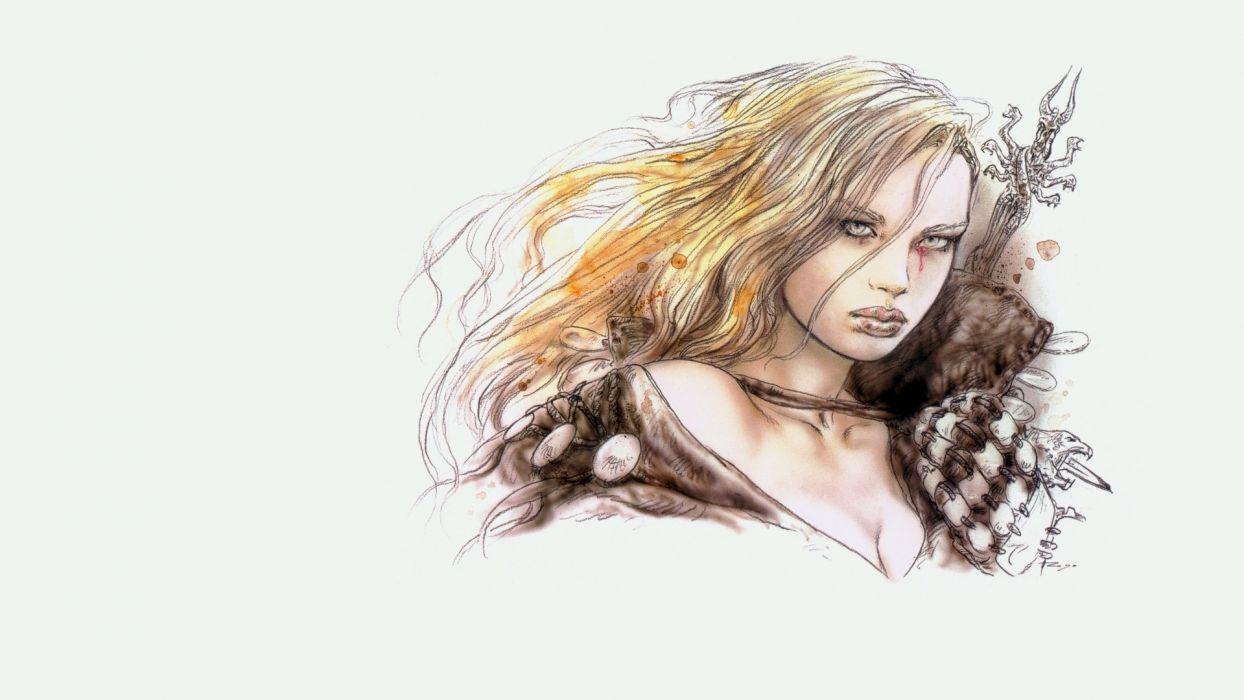 women Luis Royo drawings white background wallpaper