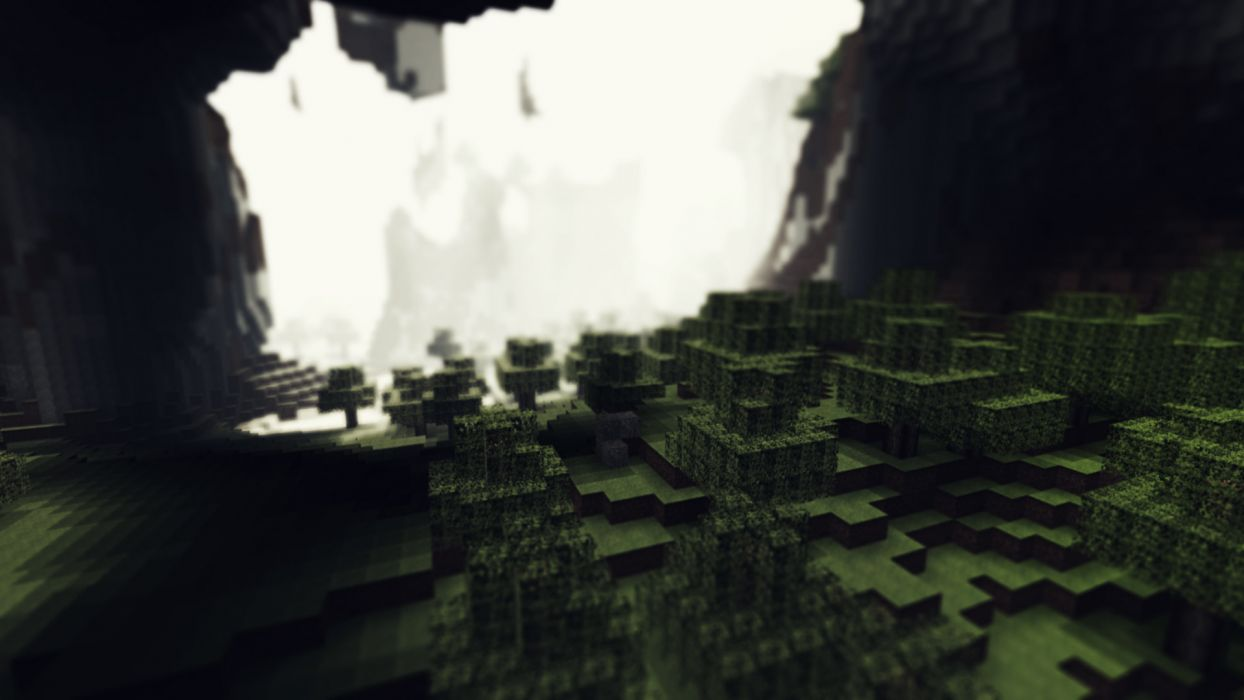 video games caves trees Minecraft cubes wallpaper