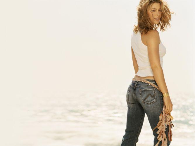 women American actress models Jessica Biel celebrity looking back denim clothing wallpaper
