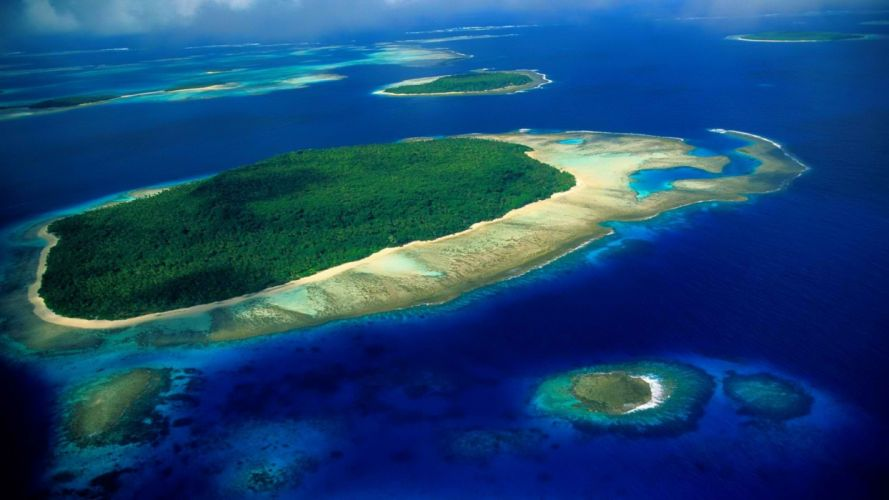 reef south aerial Pacific wallpaper