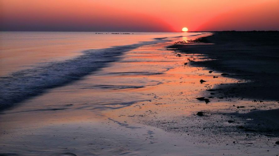 sunset Mexico Texas rim parks Gulf sea wallpaper