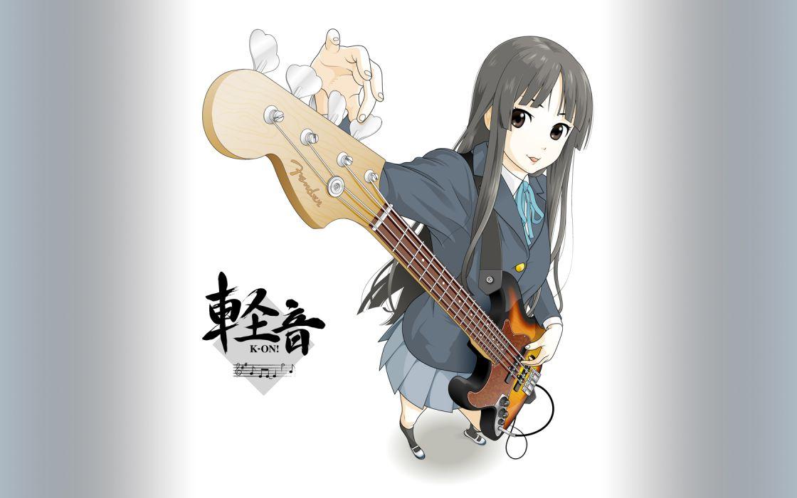 K-ON! school uniforms bass guitars Akiyama Mio simple background J-Bass wallpaper