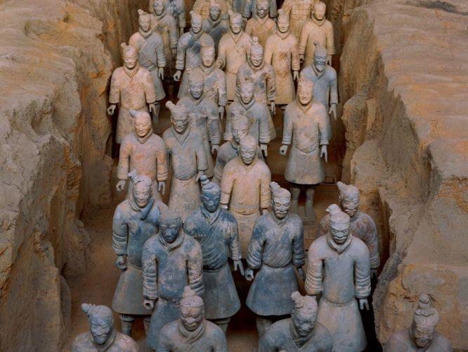 China statues warriors Terracotta Army wallpaper