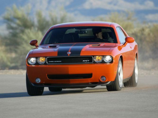 cars front Dodge Challenger Dodge Challenger SRT8 stripes orange cars wallpaper