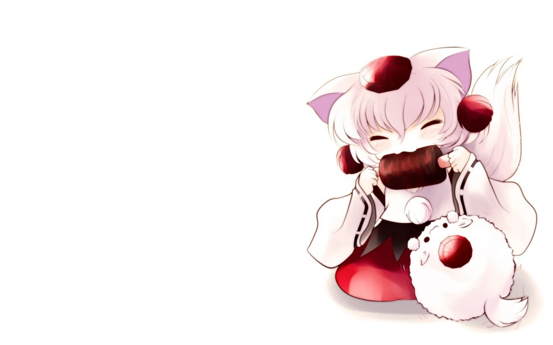 tails video games Touhou animals food meat chibi animal ears closed eyes white hair Inubashiri Momiji hats Japanese clothes simple background inumimi tengu detached sleeves eating tokin hat wallpaper
