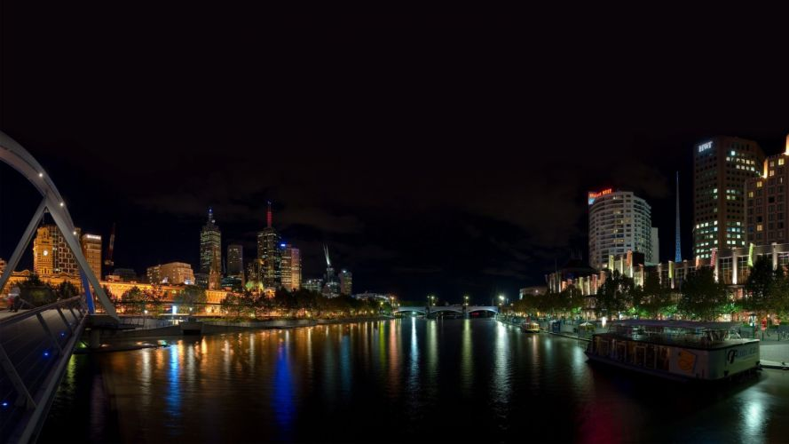 cityscapes night lights Australia Melbourne cities wallpaper