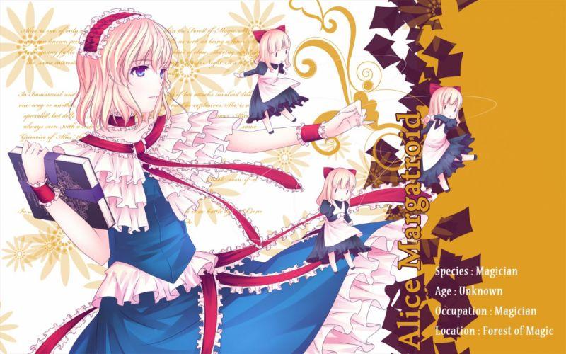 blondes Touhou dress blue eyes chibi long hair books short hair Shanghai Alice Margatroid anime girls hair band wallpaper