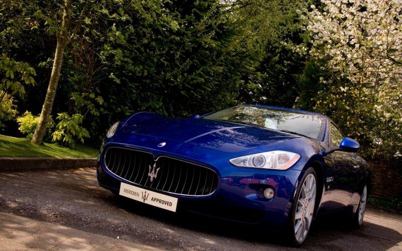 blue Maserati vehicles sports cars Maserati GranTurismo blue cars wallpaper