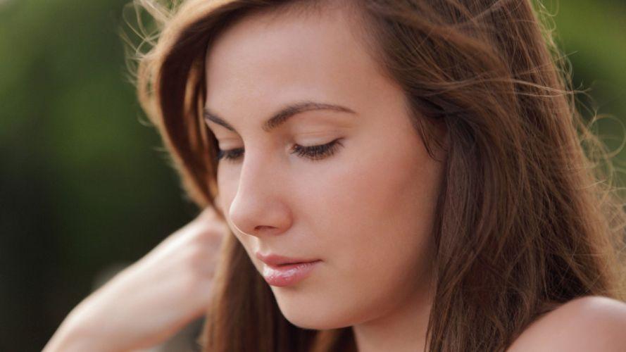 brunettes women models lips Josephine wallpaper