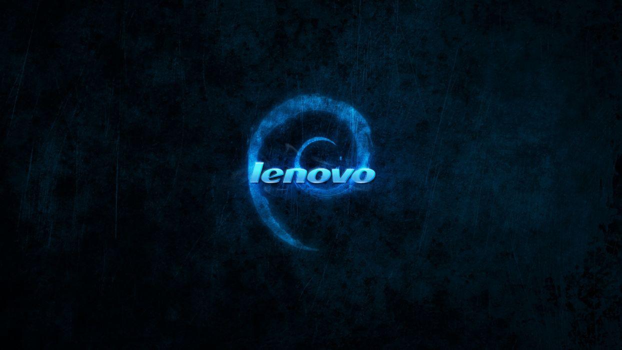 blue dark Linux Debian brands logos Lenovo wallpaper