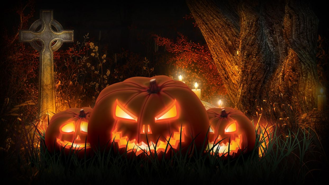 Halloween Spooky Wallpaper.Halloween Scary Spooky Cemetery Pumpkins Wallpaper