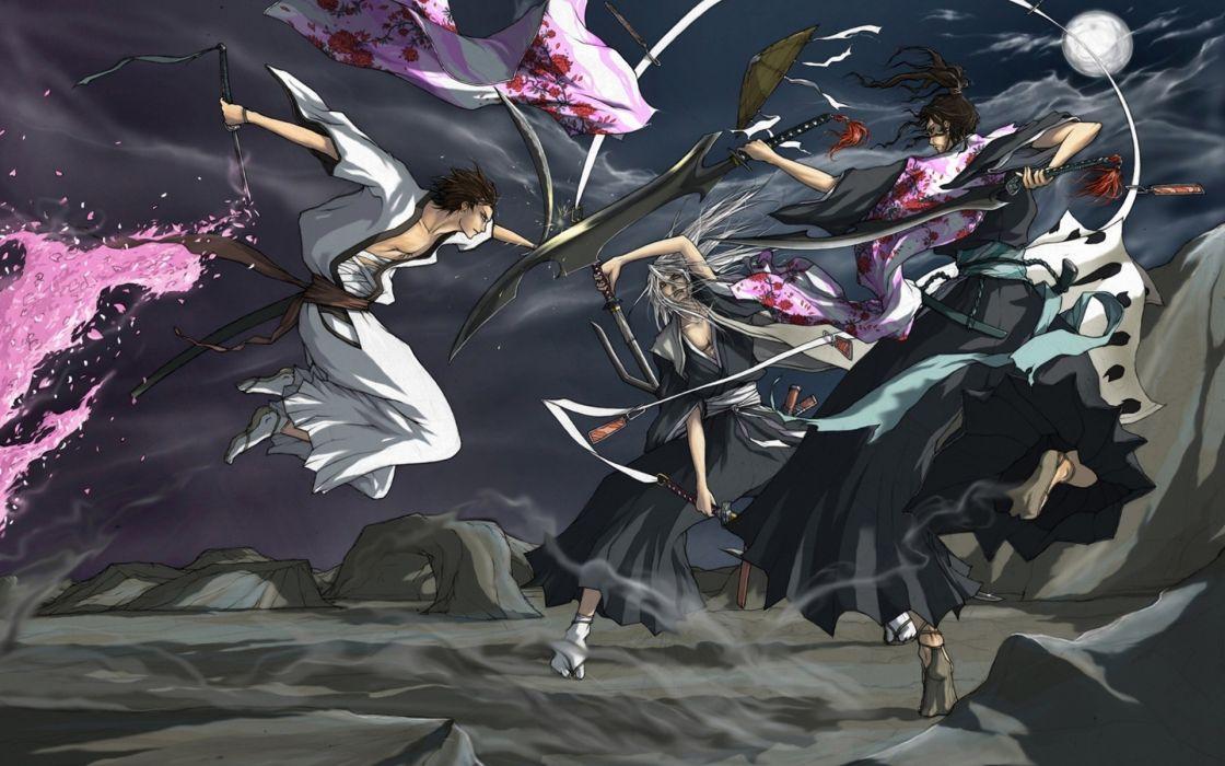 Bleach Aizen Sousuke zanpakuto Shunsui Kyoraku Ukitake Juushiro Hueco Mundo wallpaper