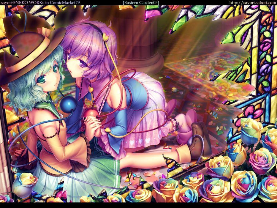 Touhou multicolor Komeiji Koishi Komeiji Satori Sayori Neko Works anime girls hair band detached sleeves wallpaper