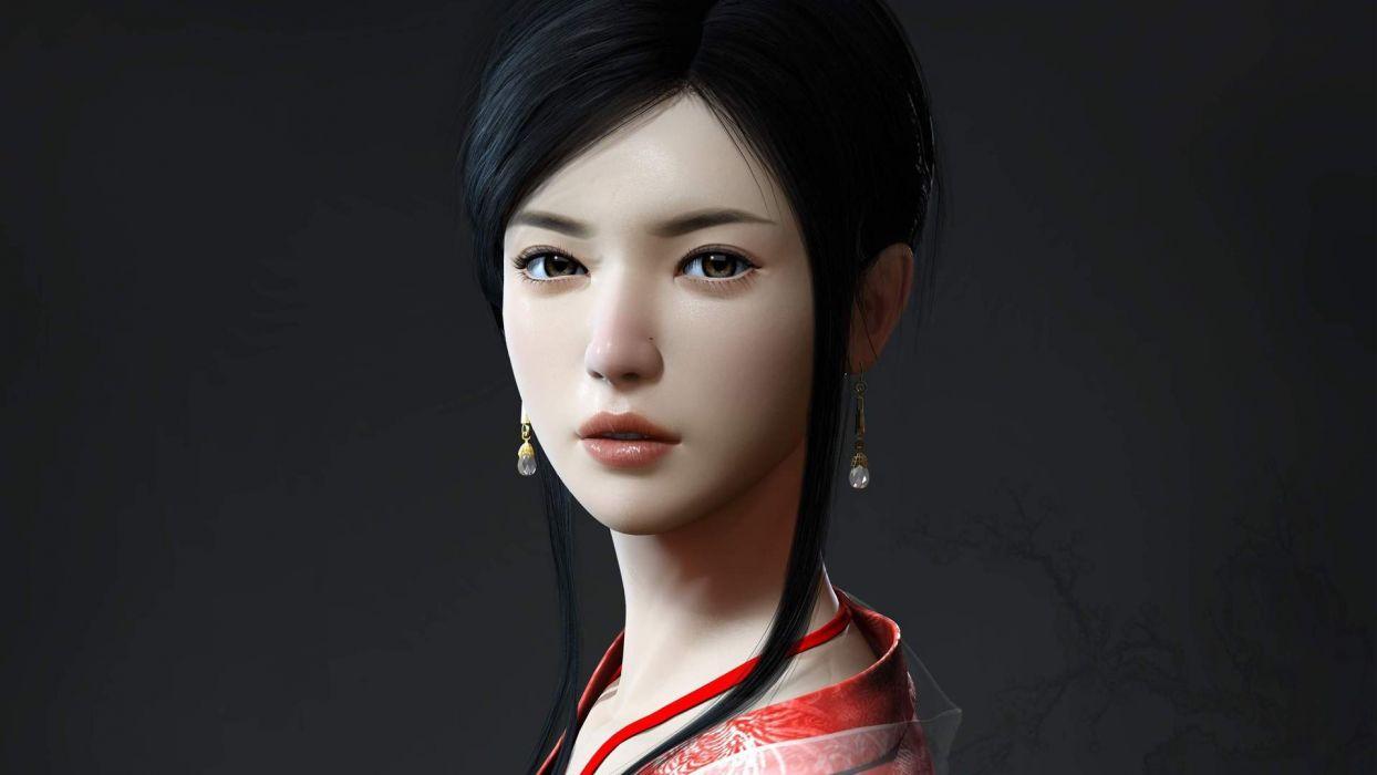women models Asians earrings digital art 3D girls wallpaper