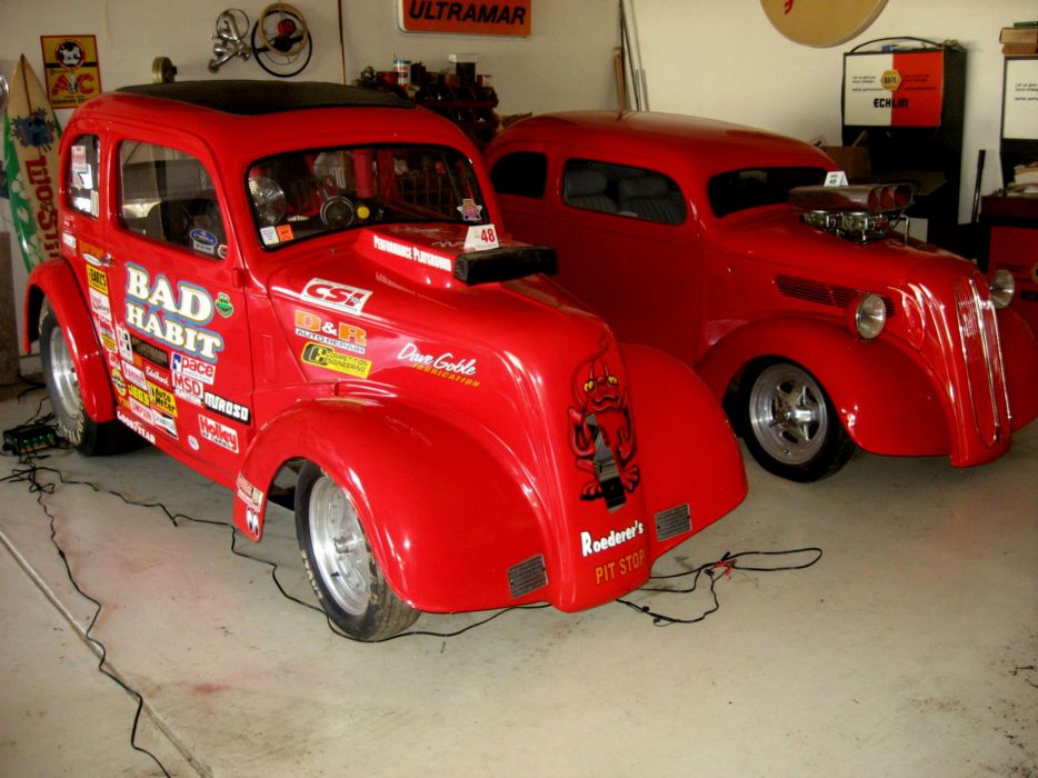FORD ANGLIA retro hot rod rods drag racing race gasser  r wallpaper
